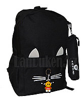 Универсальный школьный рюкзак с пеналом с ушками кошки и брелоком черный