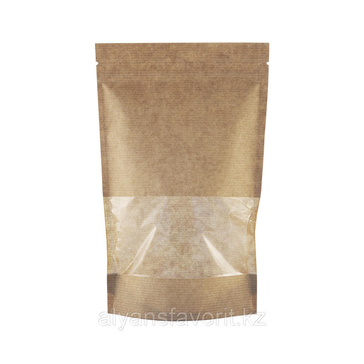 Пакет дой-пак  бумажный крафт с прозрачным окном 70 мм и  замком зип-лок (zip-lock)