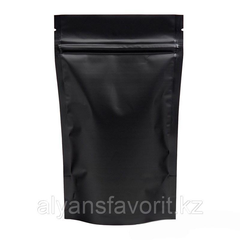 Пакет дой-пак металлизированный чёрный матовый с замком зип-лок (zip-lock)