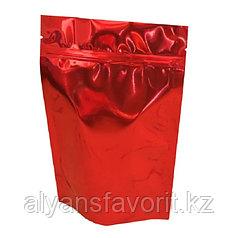 Пакет дой-пак металлизированный красный глянцевый с замком зип-лок (zip-lock)