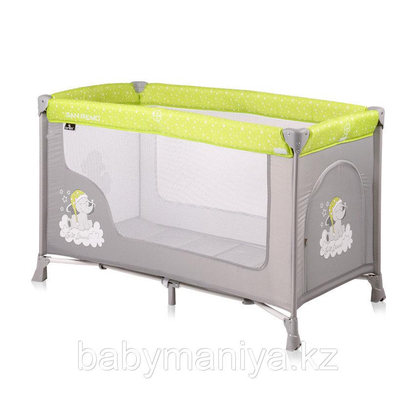 Кровать - манеж Lorelli SAN REMO  1 Зелено-серый / GREEN&GREY ELEPHANT1937