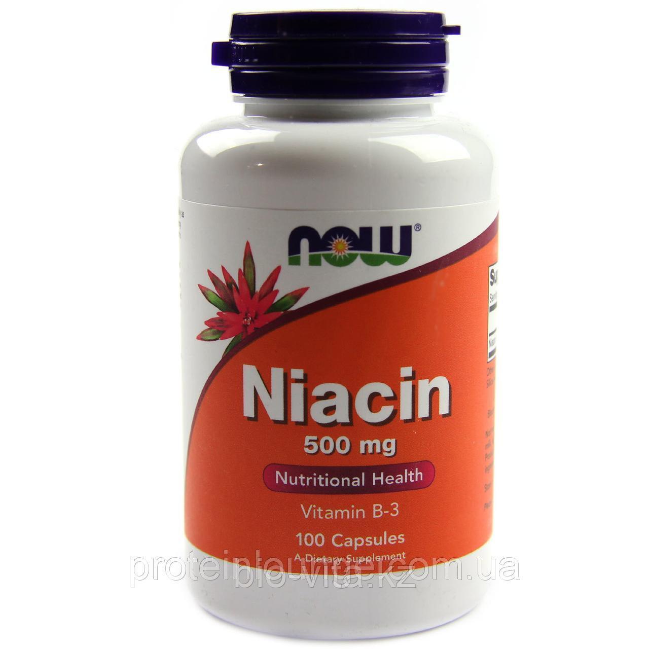 Now Foods, Ниацин, 500 мг, 100 капсул.
