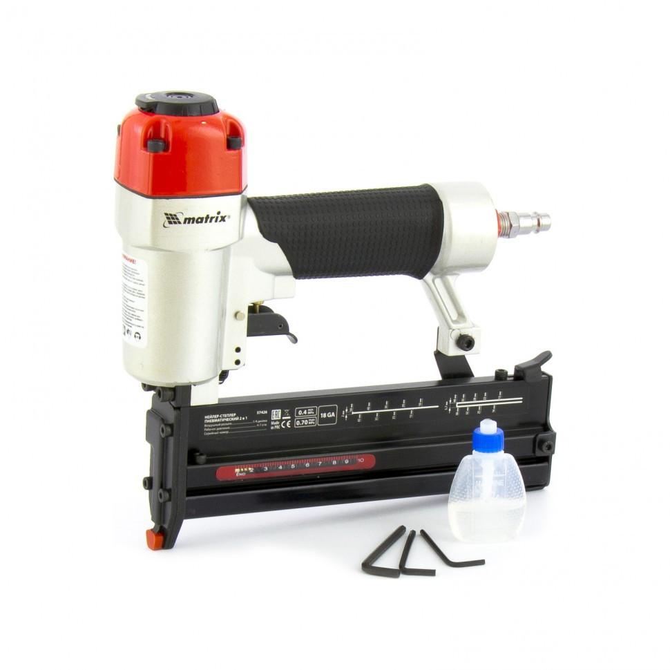 Нейлер-степлер пневматический 2 в 1, гвозди 18GA длина 10-50 мм, скобы 18GA длина 13-40 мм Matrix