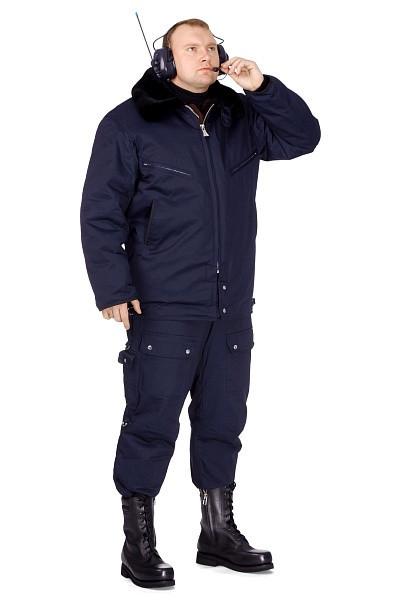 Куртка мужская меховая синяя