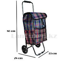 Складная сумка тележка клетчатая, синяя  металлическая на 2 колесах