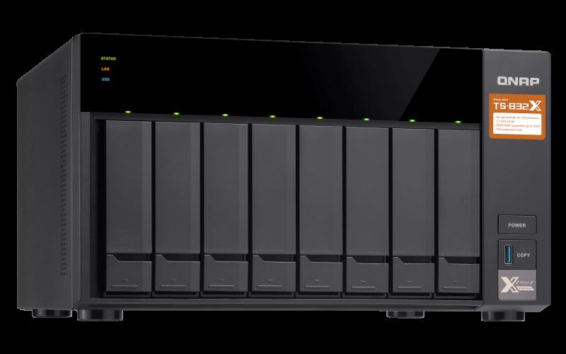 "Сетевой RAID-накопитель, Qnap TS-832X-8G 8 отсеков HDD 3,5"", 2 порта 10 GbE SFP+. ARM Cortex-A57 Annapurna Lab"