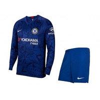 Футбольная форма Челси домашняя 19/20  (комплект футболка с длинным рукавом +шорты)