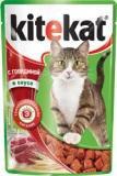 Kitekat с Говядиной в Соусе Китикэт Консервы для кошек, пауч 85г, фото 1