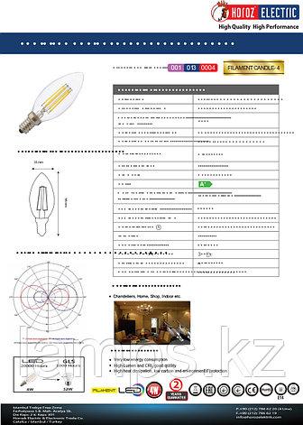 Светодиодная Лампа Эдисона декоративная FILAMENT CANDLE-4 4W 2700K, фото 2