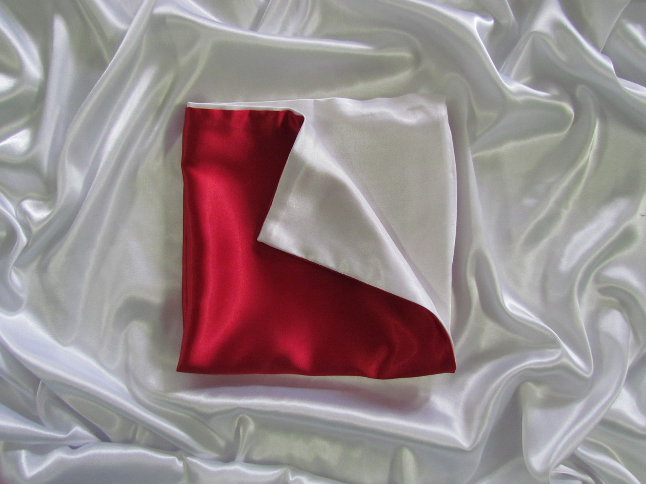 Наволочка двухцветная (бело-красная) для сублимации, 30х30 см, атлас