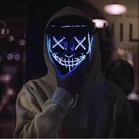 """Неоновая маска """"Судная ночь"""", синяя., фото 1"""