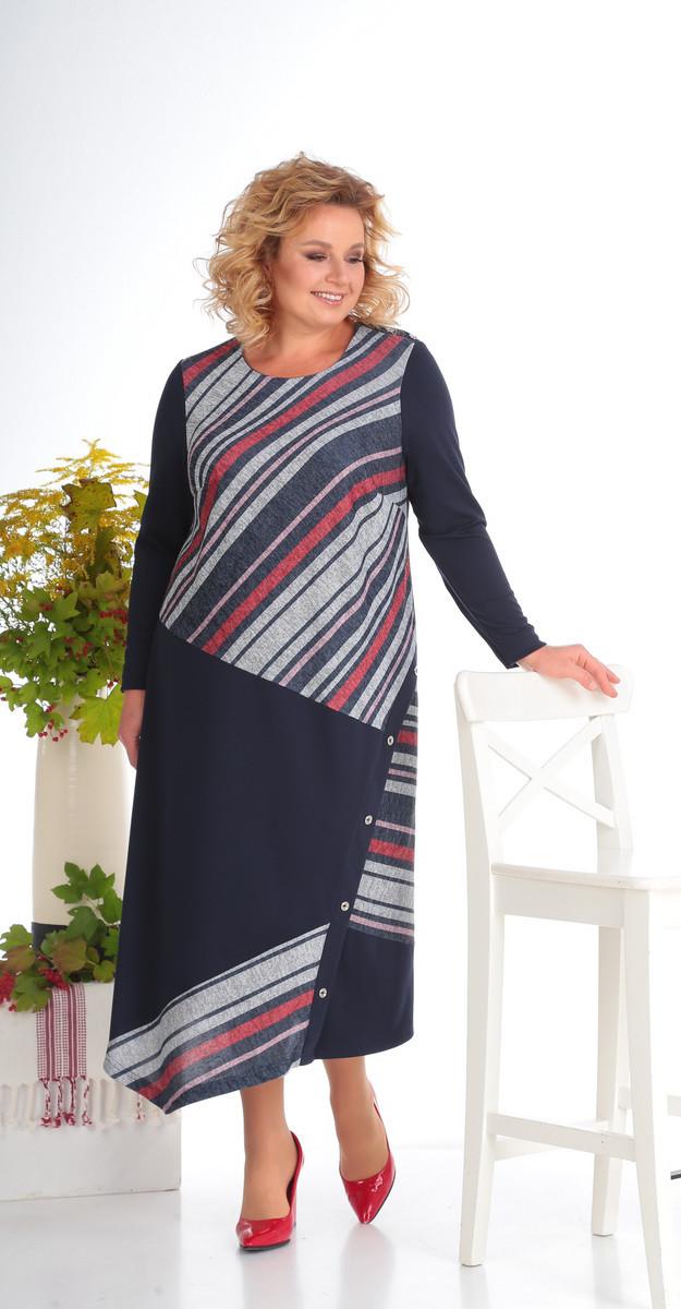 Платье Novella Sharm-3324, сине-серый полоски, 60
