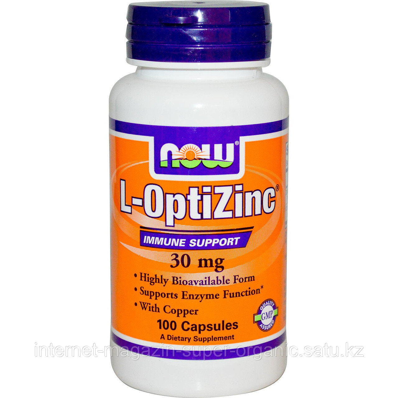 Цинк (L-OptiZinc), 30 мг, 100 капсул, Now Foods