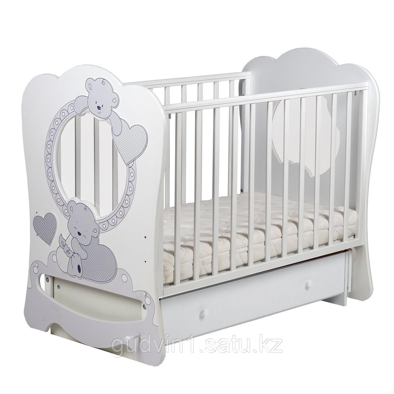 Кровать ЛЕЛЬ Baby Sleep 7 Мишки c поперечным маятником ваниль БИ 133.2