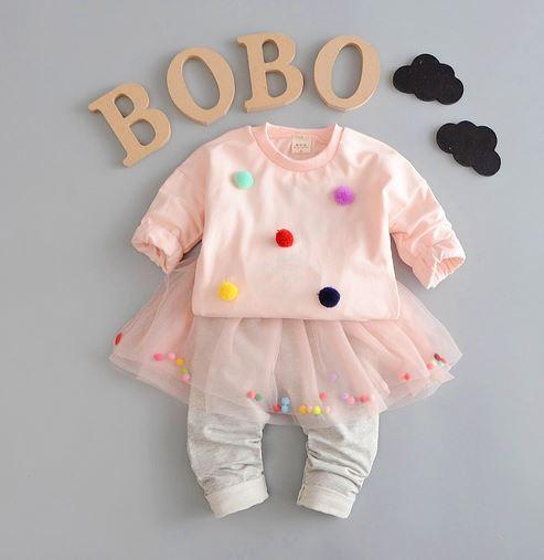 Костюм для девочки, цвет нежно-розовый, с серыми штанишками