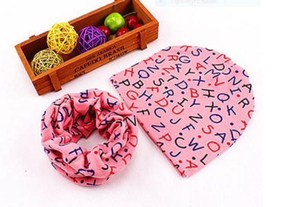"""Весенняя шапочка+снуд, вид """"Буквы"""", цвет розовый, на 6-24 мес."""