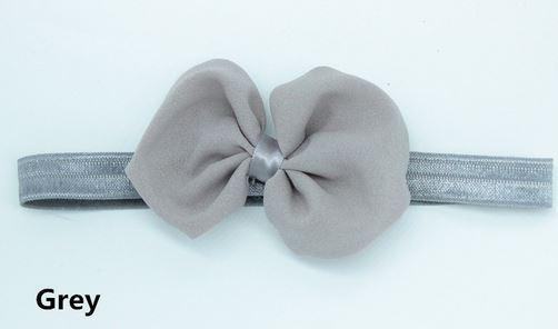 Ободок тканевый, с шифоновым бантиком, цвет серый