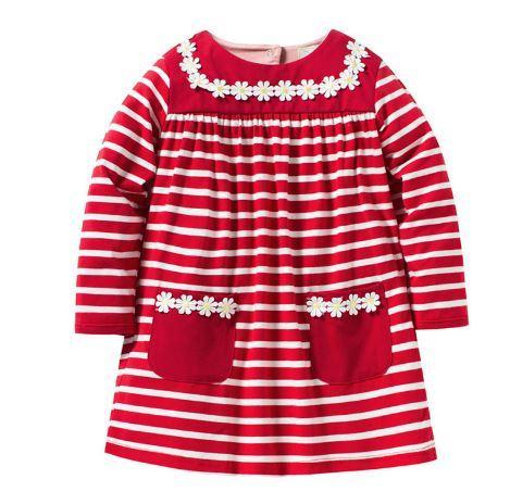 Платье детское, с ромашками, цвет красный, на 6, 7 лет