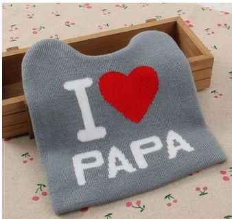 """Шапочка теплая """"Я люблю папу"""", на 3-12 мес, цвет серый"""