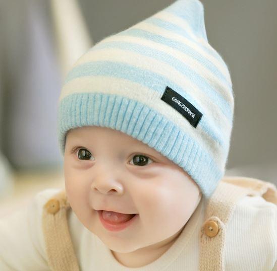 Шапочка для малышей, в полоску, цвет голубой