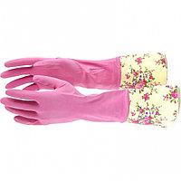 Перчатки хозяйственные, латексные с манжетой, S Elfe
