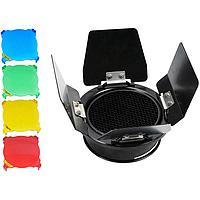Шторки Godox BD-03 с цветными фильтрами + соты. байонет SS, фото 1