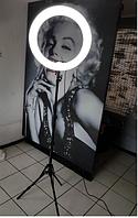 Селфи лампа, кольцевая на подставке с зажимом для телефона, 36 см