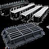 Лоток водоотводный бетонный с решеткой щелевой чугунный ВЧ кл.Е в комплекте  длина 1000 ширина 305 высота 305