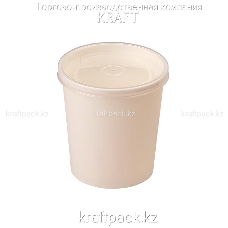 Упаковка для супов,каш,мороженного Белая с пластиковой крышкой 470мл (Eco Soup Econom 16W) DoEco (25/250)