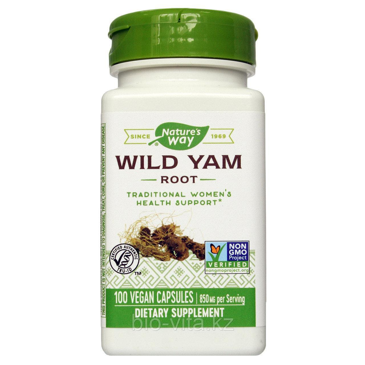 Nature's Way,Дикий ямс  Wild Yam, Root, 425 mg, 100 капсул.