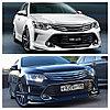 Юбка порог комплект белый + спойлер  на Toyota Camry 55  2014-2018, фото 2