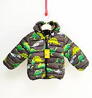 Куртка осенняя с Динозаврами для мальчиков от 2 до 7 лет, серый., фото 1