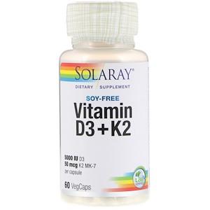 Solaray, Витамин D3 + K2, без сои, 60 капсул с оболочкой из ингредиентов растительного происхождения