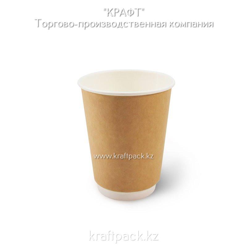 Двухслойный бумажный стакан крафт для горячих/холодных напитков 350мл DoEco D90 (25/500)