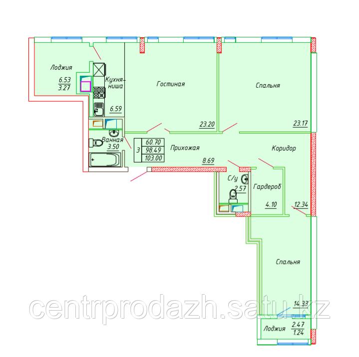 3 комнатная квартира в ЖК Сенатор Парк 103.25 м²
