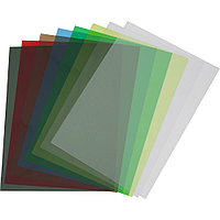 Обложки ПВХ А4, 0,18мм, кожа, прозр/синие (100)