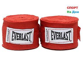 Боксерский бинт EVERLAST 2 штуки 3 метра (цвет красный)
