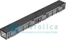 Комплект Gidrolica Light: лоток водоотводный ЛВ -10.11,5.5,5 - пластиковый  с решеткой РВ- 10.11.50 пластиковой щелевой, кл. A15