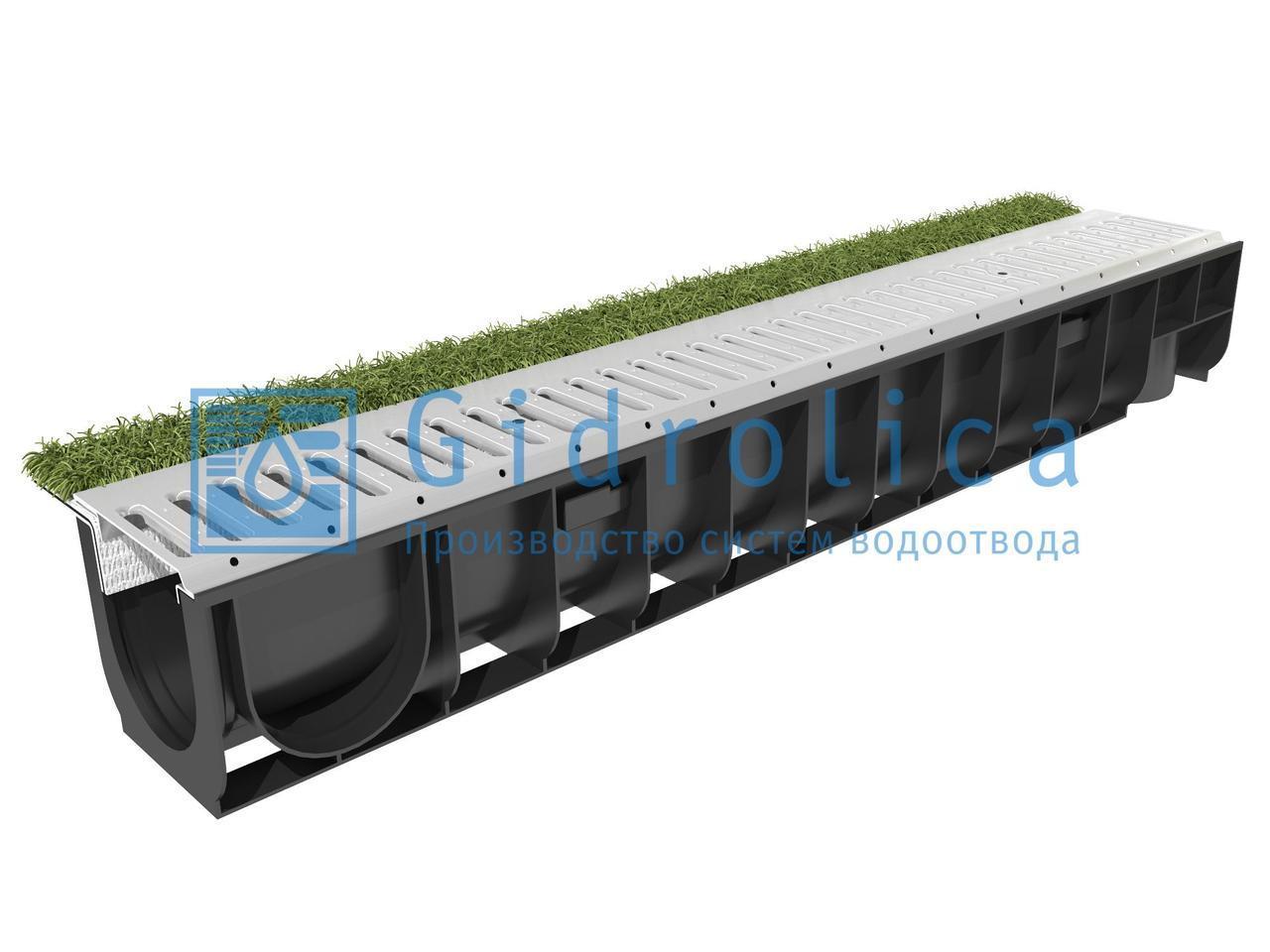 Комплект Gidrolica Sport: лоток водоотводный ЛВ-10.14,5.18,5 пластиковый с решеткой РВ-10.14,2.100 стальной оцинкованной, кл.А15