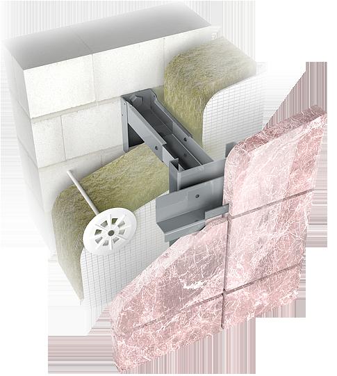 Конструкция навесной фасадной системы с воздушным зазором СКН-СК-004 для облицовки натуральным камнем.