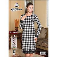 Платье для дома и отдыха. Клетка с манжетами. Турецкий производитель CoCoon. F11-2631