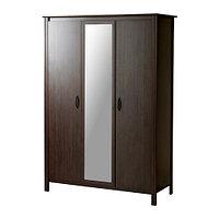 Шкаф платяной 3-дверный БРУСАЛИ коричневый ИКЕА, IKEA , фото 1