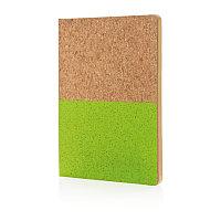 Блокнот в пробковой обложке, зеленый зеленый