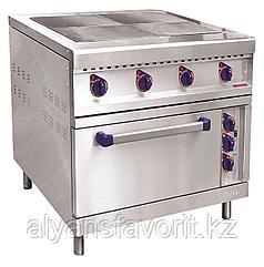Плита электрическая ABAT ЭПК-48ЖШ-К-2/1 четырехконфорочная с жарочным шкафом (полностью нерж, серия 900)