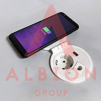 Shelbi Розеточный настольный блок на 1 розетки 200B, 1 USB, беспроводная зарядка, + доп место