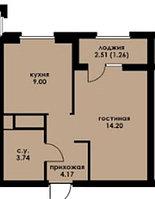 1 комнатная квартира в ЖК Inju Arena 32.32 м²