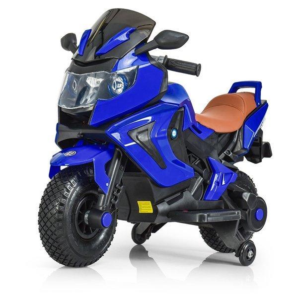 Детский электромобиль мотоцикл Kawasaki с надувными колесами, синий