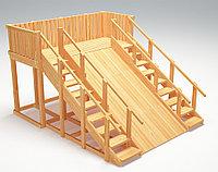 """Зимняя деревянная игровая горка с двумя лестницами Савушка """"Зима wood"""" - 4 (неокрашенная), фото 1"""