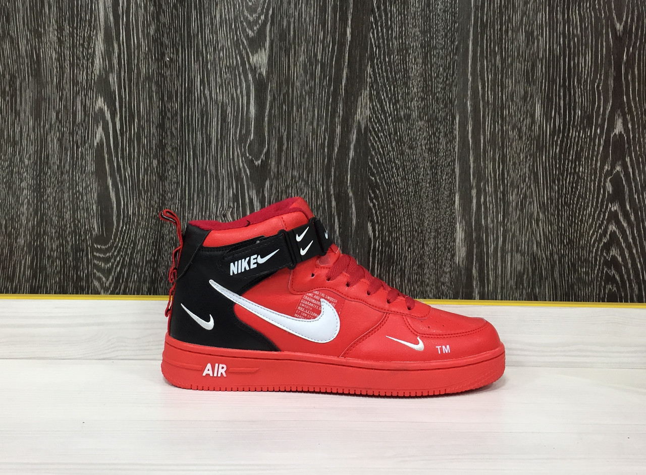 Кроссовки Зимние Nike Air Force 1 Mid (Red)