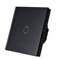 Выключатель сенсорный одноклавишный черный стекло